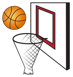 Basketball board with a basket and a ball vector