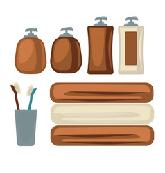 Brown bottles and towels vector