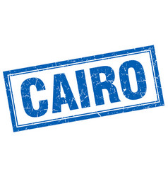 Cairo blue square grunge stamp on white vector