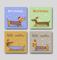 Christmas greeting cards with funny dachshund vector