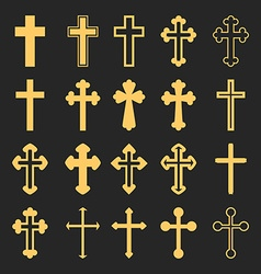 Cross icons set Decorated crosses signs or symbols vector image