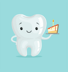 cute healthy white cartoon tooth character with vector image