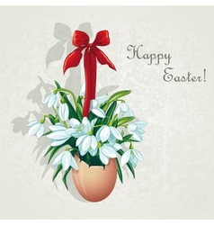 Easter card for the day with snowdrops vector