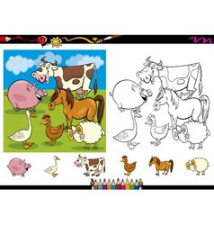 farm animals coloring page set vector image