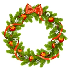 Fir wreath with red decorations vector
