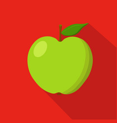 green apple flat icon vector image vector image