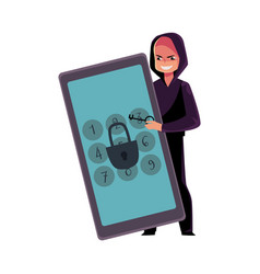 Hacker breaking phone smartphone pin code vector