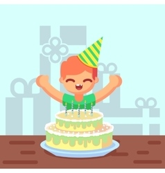 Happy sweet cute cartoon boy with birthday cake vector image