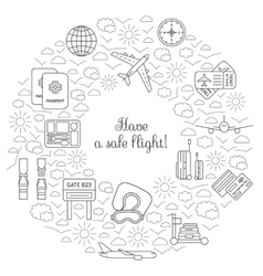 Have a safe flight card for airplane travel vector