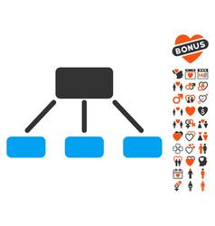 hierarchy icon with valentine bonus vector image