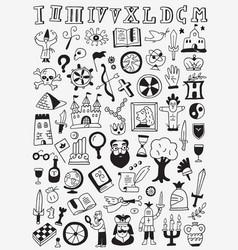 History doodles set vector