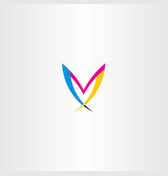 M colorful letter logo symbol icon vector