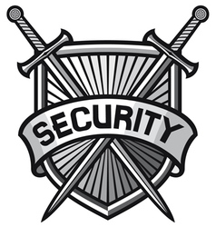 metallic security shield -securite sign vector image vector image