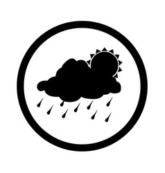 monochrome circular border with silhouette rainy vector image
