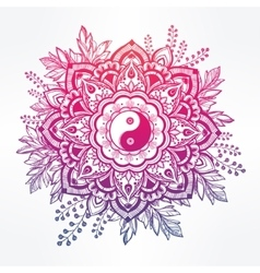 Ornate flower with Yin and Yang symbol vector image