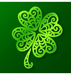 Ornate green cut out paper clover vector image vector image