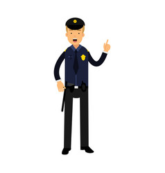 police officer character in a blue uniform with vector image