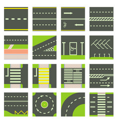 Road constructor module icons set cartoon style vector