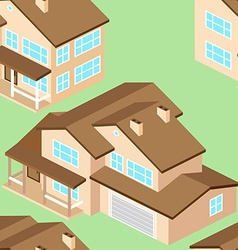 Seamless pattern with isometric suburban american vector