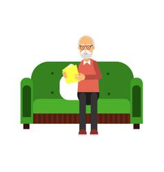 senior man character sitting on green sofa and vector image vector image