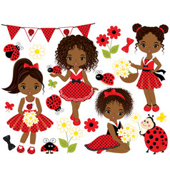 set african american girls and ladybugs vector image
