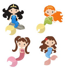 Set of cute girl mermaids set of cute girl vector