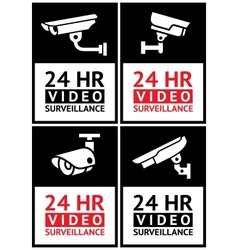 Stickers camera surveillance set vector image