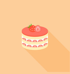 strawberry layer cheese cake in flat design vector image vector image