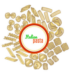 Template with hand drawn pasta vector