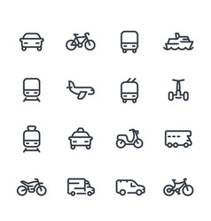 transport line icons over white vector image vector image