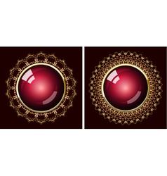 two golden frames vector image vector image