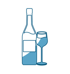 wine bottle and wineglass line icon on white vector image