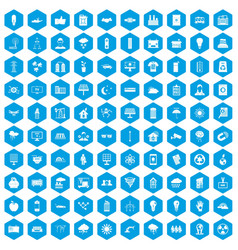 100 solar energy icons set blue vector