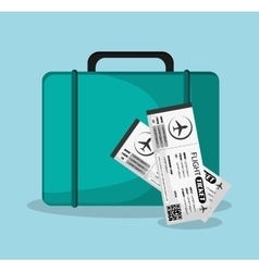 Bag and tickets to travel design vector