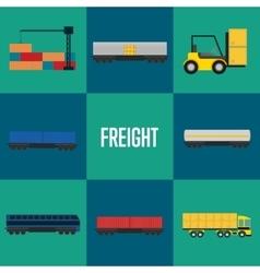 Freight transportation icon set vector