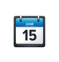 June 15 Calendar icon flat vector image