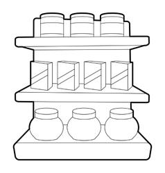 Shop shelves icon outline style vector