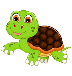 Cute baby turtle cartoon walking vector