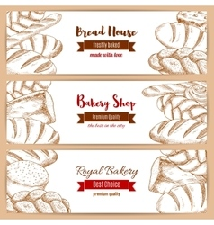 Bakery shop and bread house sketch banners set vector image