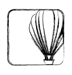 Monochrome sketch with hot air balloon in square vector