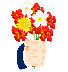 flower in hand vector image