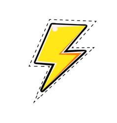 Yellow electric lightning bolt comic vector