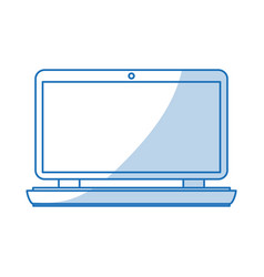Blue shading silhouette cartoon laptop computer vector