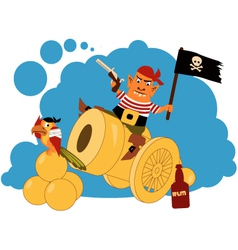 Pirate on a cannon vector image