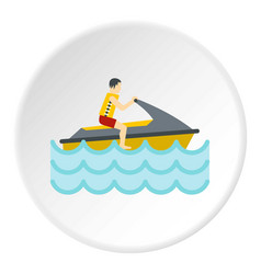 Jet ski rider icon circle vector