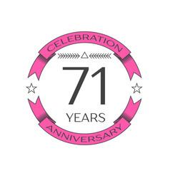 Seventy one years anniversary celebration logo vector