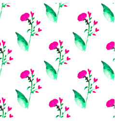 Seamless floral pattern with watercolor flowers vector