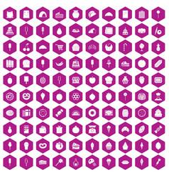 100 confectionery icons hexagon violet vector