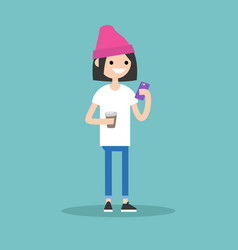 young girl texting on her smartphone and holding vector image