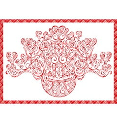 card bouquet of hearts vector image